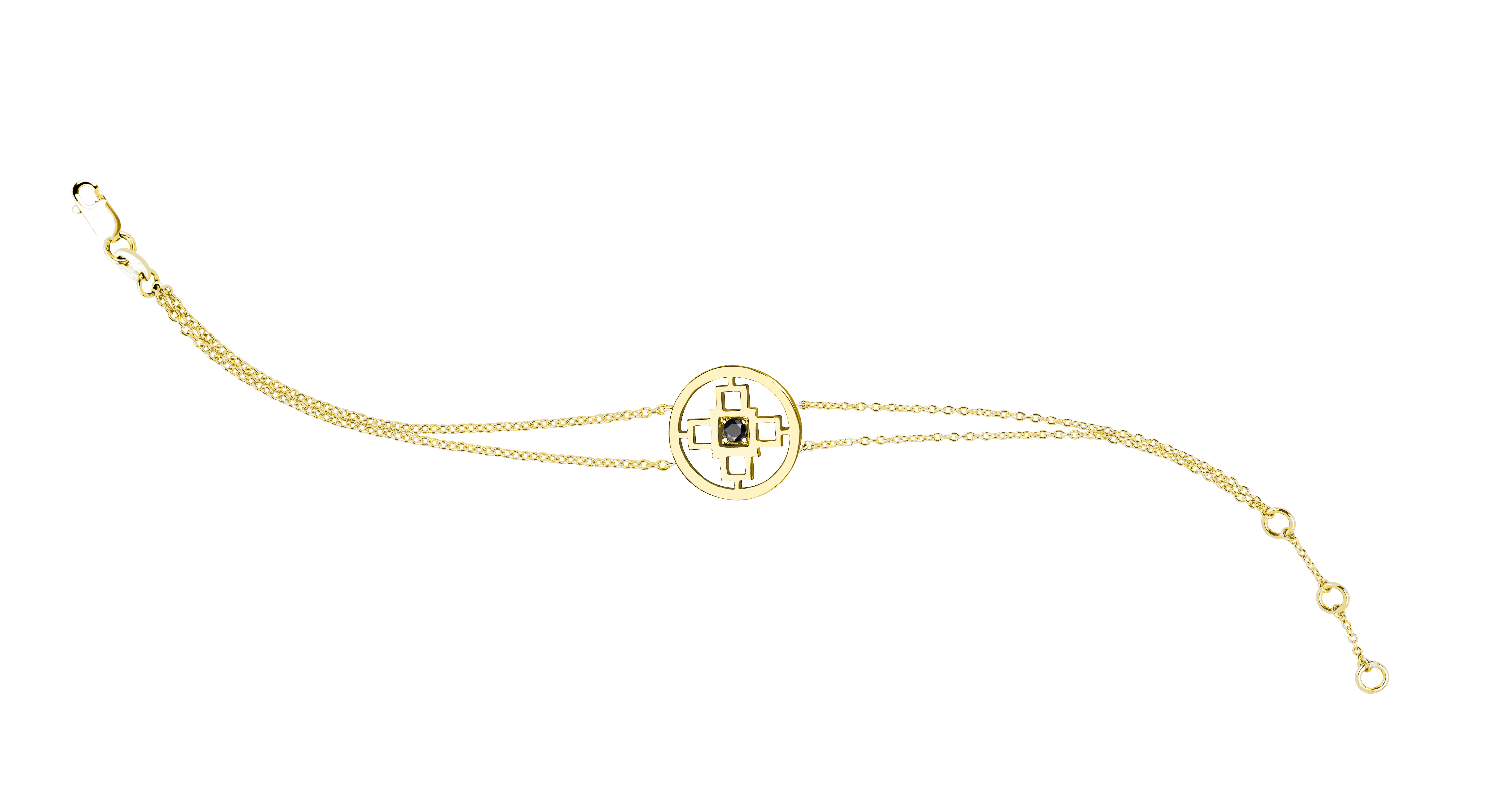 Intelligence Bakwani7 Or diamant central noir – Bracelet double